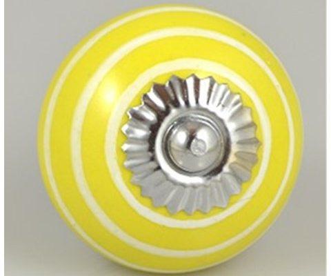 Striped ceramic White on Yellow  US$7.95